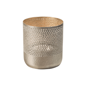 Silver-coloured tea light candle holder